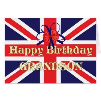 For Grandson, a Birthday card with a Union Jack