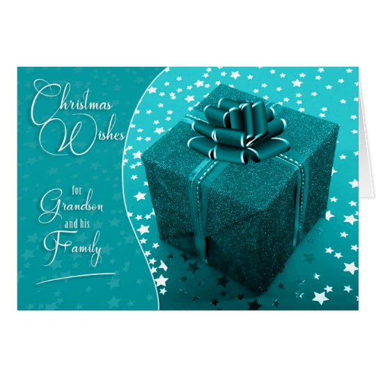 for Grandson and Family Turquoise Blue Christmas Card