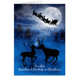 for Grandson and Wife Kissing Reindeer Christmas Card