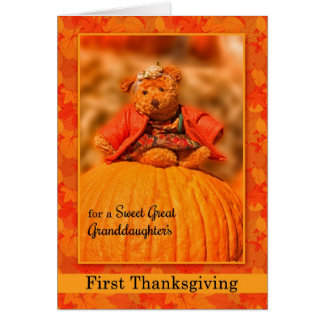 for Great Granddaughter's 1st Thanksgiving Bear Greeting Card