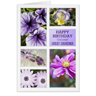 For Great Grandma,Lavender hues floral birthday Cards