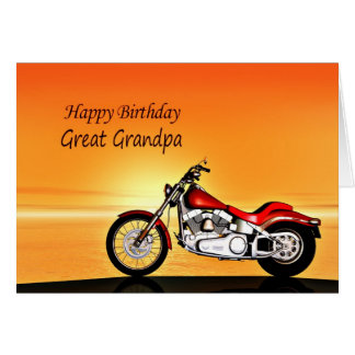 For Great Grandpa, Motorcycle sunset birthday Greeting Card
