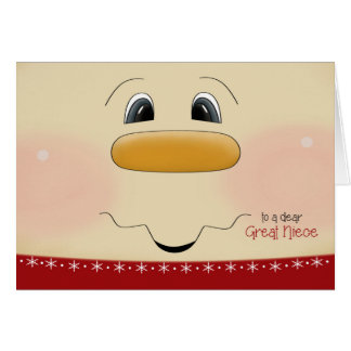 For Great Niece Christmas Happy Snowman Face Greeting Card