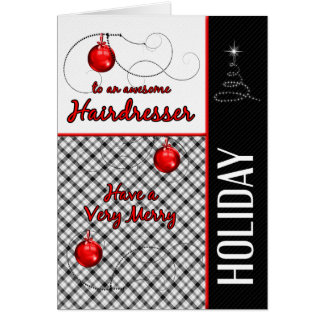 for Hairdresser | Red and Black Plaid | Holiday Greeting Card