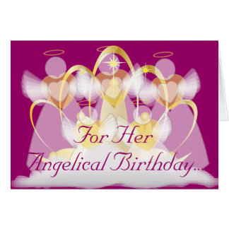 For Her Angelical Birthday -Customize Greeting Card