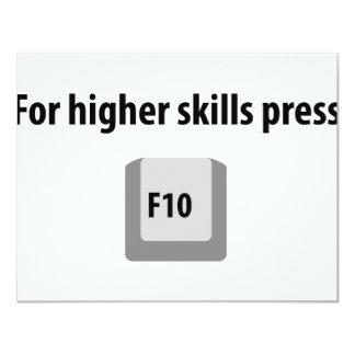 "for higher skills press F 10 counter strike icon 4.25"" X 5.5"" Invitation Card"