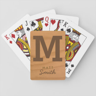 for him a stylish monogram on faux wood playing cards