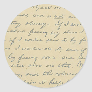 For History Buffs: Lincoln's Letter to Greeley Classic Round Sticker