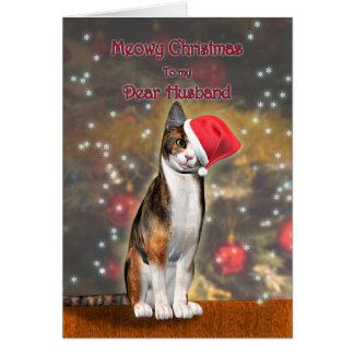 For Husband, a funny cat in a Christmas hat Card