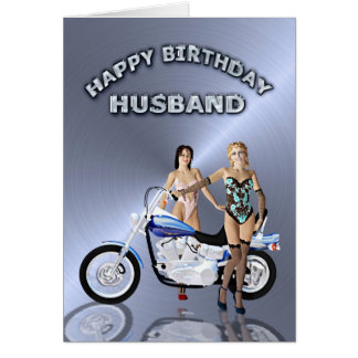 For husband, birthday with girls and a motorcycle card