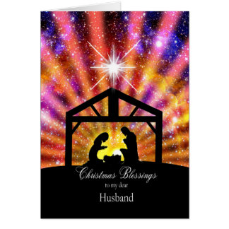 For husband, Nativity at sunset Christmas Card