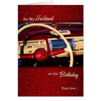 for Husband Romantic Birthday - Classic Car Theme Greeting Card