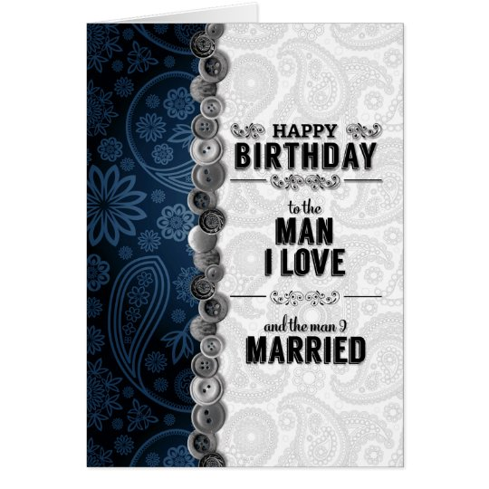 for Husband's Birthday Blue and Silver Paisley Card