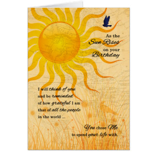for Husband's Birthday | Romantic Sun Rise Greeting Card