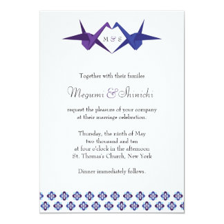 FOR KATY: Origami Cranes Wedding (Blue & Purple) Card