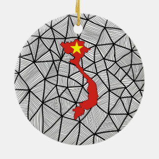 For Kids: Creative Vietnam Flag With Map Christmas Ornament