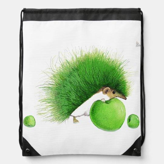 For Knapsack to green hedgehog eating apples. Drawstring Bag
