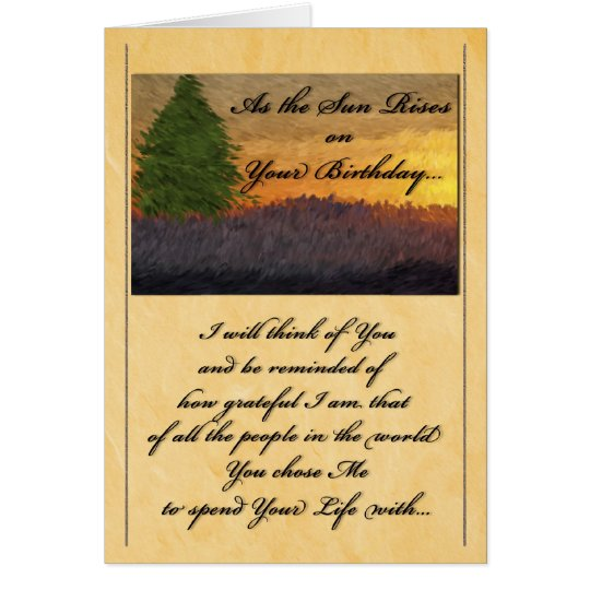 for Life Partner - Birthday Romantic Sunset Card