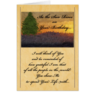 for Life Partner - Birthday Romantic Sunset Greeting Card