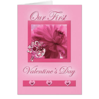 for Life Partner First Valentine's Day Pink Daisy Card