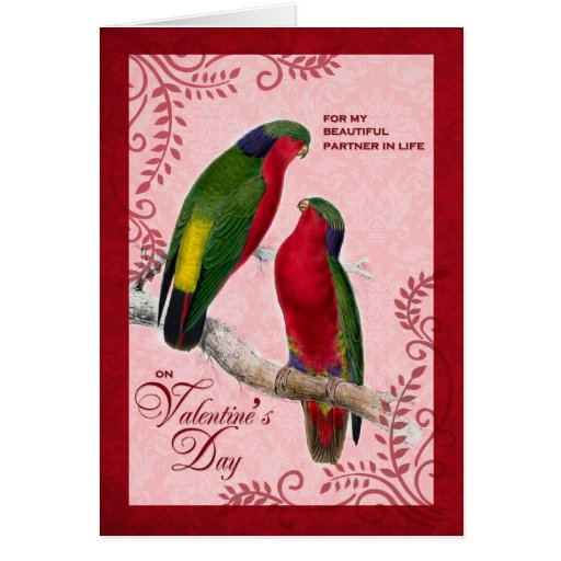 For Life Partner on Valentine's Day Lorikeet Parro Cards