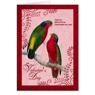 For Life Partner on Valentine's Day Lorikeet Parro Greeting Card