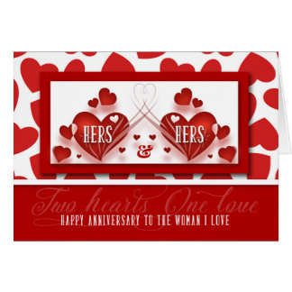 for Life Partner Two Hearts Wedding Anniversary Card