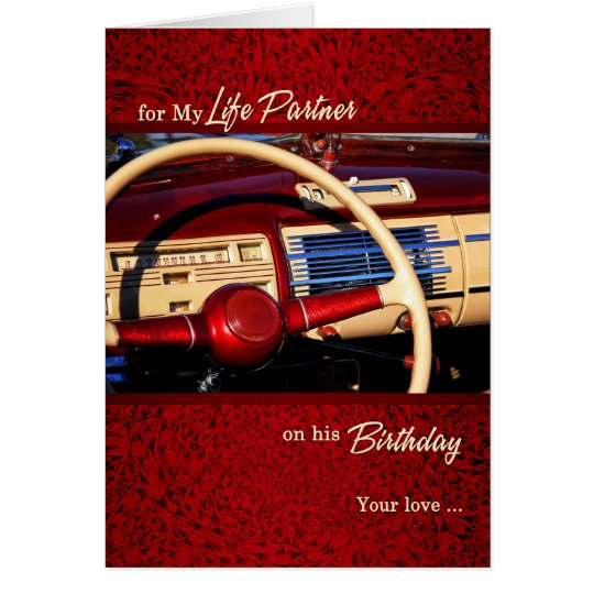 For Life Partner's Birthday Red Classic Car Card