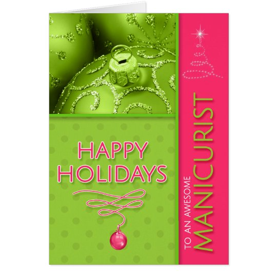 for Manicurist Pink and Green Modern Christmas Card