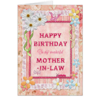 For Mother-in-law, craft birthday card