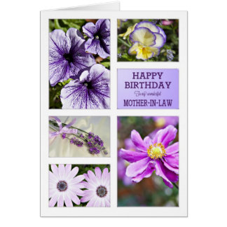 For Mother-in-Law,Lavender hues floral birthday Greeting Card