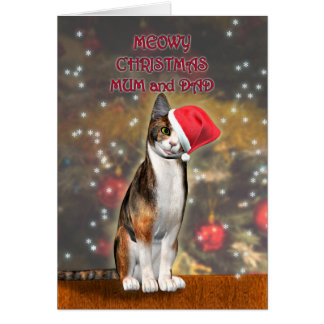 For mum and dad, a funny cat in a Christmas hat Card