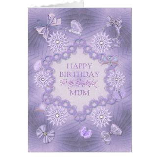 For mum, dreamy lilac birthday card with flowers