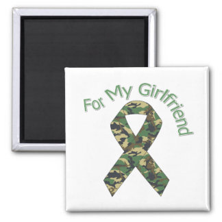 For My Girlfriend Military Ribbon Square Magnet