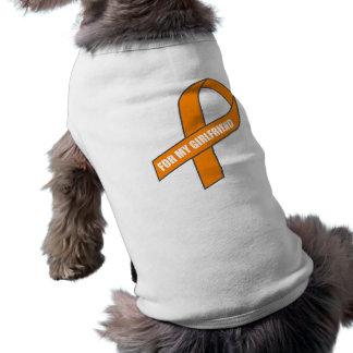 For My Girlfriend (Orange Awareness Ribbon) Sleeveless Dog Shirt