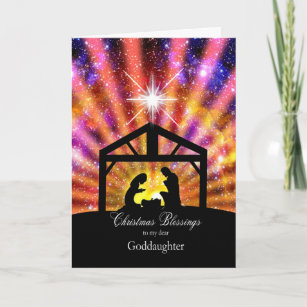 for my goddaughter nativity at sunset christmas holiday card