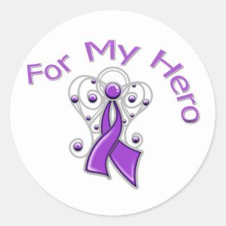 For My Hero Angel Ribbon Alzheimer's Disease Round Sticker