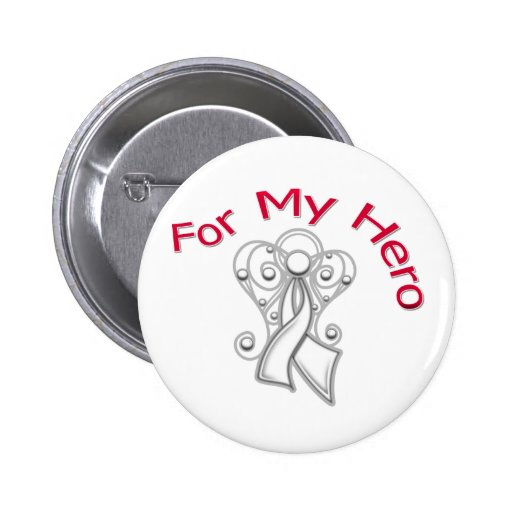 For My Hero Angel Ribbon Lung Cancer Button