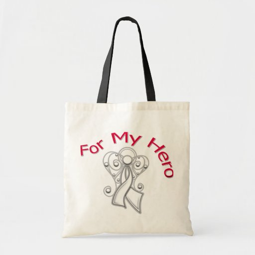 For My Hero Angel Ribbon Lung Cancer Tote Bags