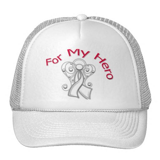 For My Hero Angel Ribbon Lung Cancer Trucker Hats