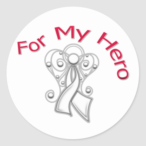 For My Hero Angel Ribbon Lung Cancer Round Sticker