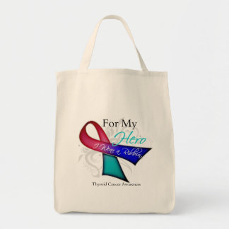 For My Hero I Wear a Ribbon Thyroid Cancer Canvas Bags