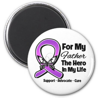 For My Hero My Father - Purple Ribbon Awareness Refrigerator Magnets