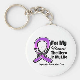 For My Hero My Fiance - Purple Ribbon Awareness Basic Round Button Key Ring