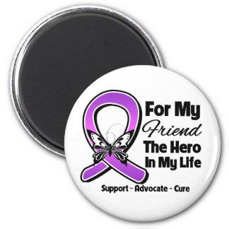 For My Hero My Friend - Purple Ribbon Awareness Fridge Magnet