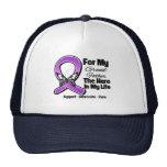 For My Hero My Grandfather - Purple Ribbon Awarene Mesh Hat