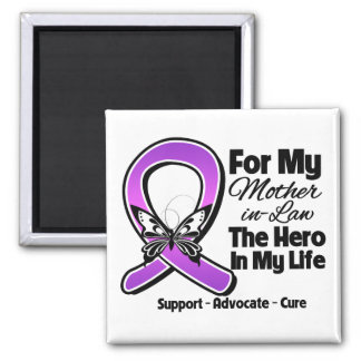 For My Hero My Mother-in-Law - Purple Ribbon Aware Fridge Magnets
