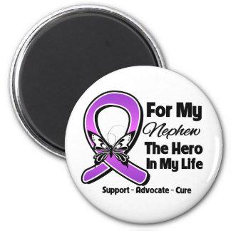 For My Hero My Nephew - Purple Ribbon Awareness Magnet
