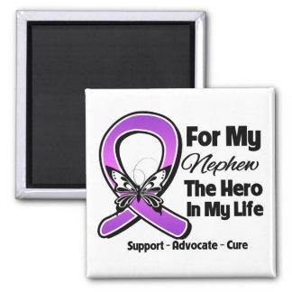 For My Hero My Nephew - Purple Ribbon Awareness Fridge Magnet