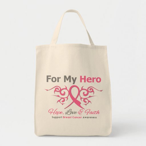 For My Hero Tribal Ribbon Breast Cancer Bags